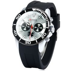Curren 8185 Decorative Sub-dials Quartz Watch Rubber Band for Men #>=#>=#>=#>=#> Click on the pin to check out discount price, color, size, shipping, etc. Save and like it!