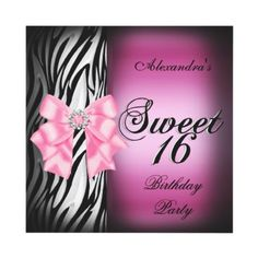 Sweet Sixteen 16 16th Party Pink Zebra Black Bow by Zizzago $2.25 invitations Birthday invitations by zizzago.com