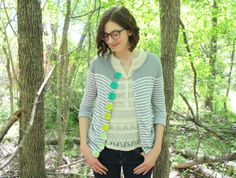 spring cardigan makeover with crochet buttons