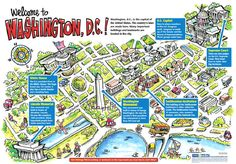 free printable washington dc map showing US Capitol and Museums ...