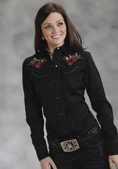Vintage Rose : Women's Embroidered Cowgirl Shirt | Free Shippin' on Western Shirts