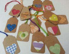 Tags with Hearts, Kraft Heart Tags, Cute Heart Tags, Heart Gift Tags, Heart Favor Tags, Wedding Favor Tags, Party Favor Tags, Hang Tags 24pc