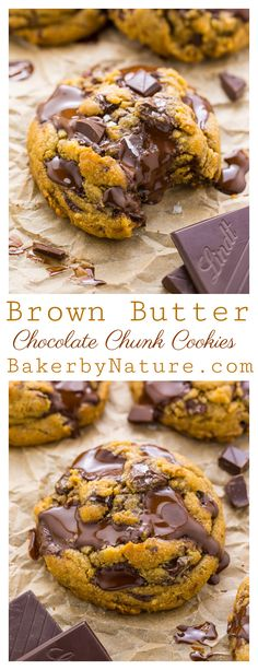 Best Ever Chocolate Chunk Cookies - Baker by Nature The Best Ever Chocolate Chunk Cookies are made with brown butter, plenty of vanilla, and tons of gooey chocolate! You can chill the dough for up to 2 days, or freeze it! This is a great recipe! Cake Mix Cookie Recipes, Cake Mix Cookies, Best Cookie Recipes, Cookies Et Biscuits, Baking Recipes, Cupcakes, Healthy Recipes, Brownie Cookies, Cream Cookies