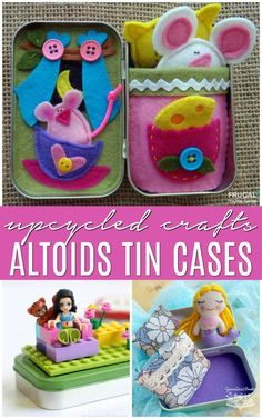 If you have extra mint cases around your home, take a look at these Upcycled Altoids Tin Ideas. Creative hacks, tips and uses for travel, play, and display. Easy Crafts For Teens, Recycled Crafts Kids, Recycled Gifts, Diy Projects For Kids, Toddler Crafts, Diy For Kids, Recycled Art, Grandma Crafts, Mothers Day Crafts
