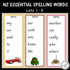 New Zealand Essential Spelling Lists – Cards Spelling Lists, Spelling Activities, Spelling Words, Sight Words, Activity Centers, Literacy Centers, Alphabetical Order, Syllable, Word Study