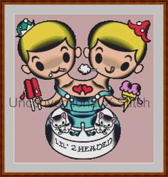 Lil 2 Headed tattoo pop art cross stitch pattern - Licensed Mitch O'Connell retro art by UnconventionalX on Etsy