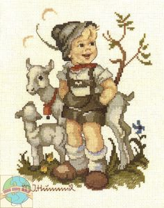 """""""The Little Goat Herder"""" Hummel cross stitch  -  DISCONTINUED ITEM - NO LONGER AVAILABLE"""