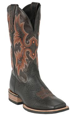 Ariat Tombstone Men's Black Double Welt Wide Square Toe Cowboy Boots