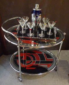 Art Deco Period Cocktail Set On Tea Cart