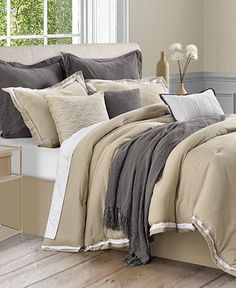 Stafford 10-Pc. Cotton/Linen Comforter Set - Bed in a Bag - Bed & Bath - Macy's