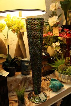 tall thin fluted vase new but vintage carnival glass style  Like us on Facebook to see more great products at impressive prices: https://www.facebook.com/EvergreenAtTheLake/app_161683100556760