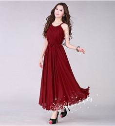 Chiffon Wine Red Long Party Dress Evening Wedding by CHARMINGDIY