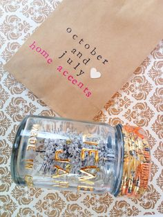 Check out my shop on Etsy: October and July And July, Home Accents, Hand Stamped, I Shop, October, Container, Packaging, Jar, Homemade