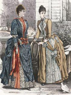 1880s Fashion, Victorian Fashion, Vintage Fashion, Vintage Clothing, Vintage Dresses, Vintage Outfits, 1800s Dresses, Fashion Cover, Steampunk Costume