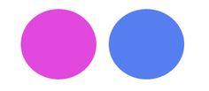 Paleta de cores: rosa e azul.