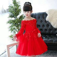 Red Dresses For Kids, Gowns For Girls, Dresses Kids Girl, Kids Outfits Girls, Cute Girl Outfits, Girls Party Wear, Fancy Suit, Hand Embroidery Dress, Princess Dress Kids