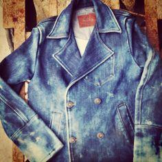 Denim Clothing 23oz Indigo peacoat jacket with vintage foaming washes