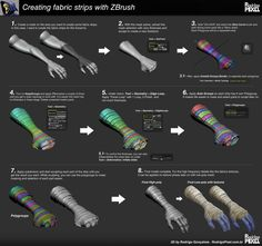 Drawing Tips Modeling Fabric Strips in ZBrush - Rodrigo Gonçalves, a Character Artist, has shared his breakdown of fabric strips in ZBrush. He had to model these for a personal project 'Skeletor' and then decided to show some useful techniques. Zbrush Tutorial, 3d Tutorial, 3d Drawing Techniques, Drawing Skills, Drawing Tips, Gesture Drawing, Figure Drawing, Drawing Ideas, Zbrush Character