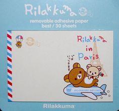 Kawaii RILAKKUMA Japanese BEAR cartoon PARIS by MyChildhoodDream Note Memo, Stationery Items, Bear Cartoon, Rilakkuma, Smash Book, Sticky Notes, Adhesive, Kawaii, Scrapbook