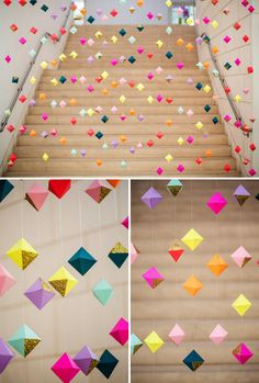 ok, ok more DIY backdrops for weddings (or any day, really). 3D garland: One craft party and a few bottles of wine later, you and your bridesmaids have this masterpiece. More inspiration from this super-colorful wedding via @ohitsperfect