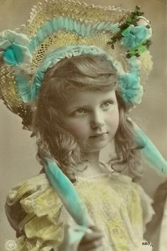 Pretty young girl wearing silly hat Vintage Postcard
