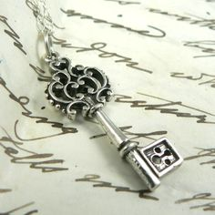 Antique Inspired Ornate Victorian Key necklace sterling silver on Etsy, $28.00