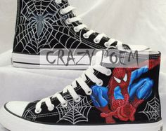 Spider-Man High Quality Hand Painting Shoes Custom shoes Best Presents for Men Women High Top Black Sneakers US Free Shipping