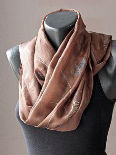 Unique Chocolate_Hand made silk scarf Art.205 by MarijanaSilk