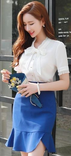 Korean Women`s Fashion Shopping Mall, Styleonme. Korean Fashion Work, Korea Fashion, Muslim Fashion, Asian Fashion, Modest Fashion, Skirt Fashion, Vestido Casual, Basic Outfits, Professional Outfits