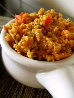 MEXICAN QUINOA ~ olive oil, carrot, celery, sweet onion, red bell pepper, green bell pepper, garlic, green onions, Mexican oregano, hot smoked paprika, quinoa, cans fire roasted tomatoes, bay leaf, shredded monterey cheese