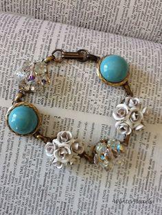 Vintage Repurposed Earring Bracelet Something Blue by WinterPearls, $32.00