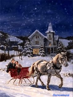MOVING Snowing Christmas Sleigh Ride Scene - Snowing Christmas Scene Gif diy christmas gifts, creative christmas gifts for bestfriend, smores christmas gift Snowing Christmas Sleigh Ride Scene - Snowing Christmas Scene Gif