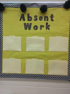 Absent work bulletin board #science #middleschooldecor #chicteacher #moroccanborder