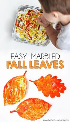 Easy Marbled Fall Leaves We're finally getting some cooler weather here, which has been getting me excited for fall and everything that comes with it! Here's an easy fall craft that even the younger ones can help do. This is a bit messy but the end result Kids Crafts, Easy Fall Crafts, Leaf Crafts, Fall Crafts For Kids, Thanksgiving Crafts, Toddler Crafts, Arts And Crafts, Fall Leaves Crafts, Fall Art For Toddlers