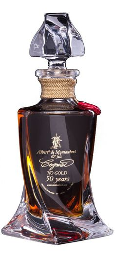 Cognac XO Gold 50 Years from Albert de Montaubert & Fils. Alcohol Bottles, Liquor Bottles, Perfume Bottles, Hard Drinks, Strong Drinks, Alcoholic Drinks, Beverages, Spirit Drink, Liquor Dispenser