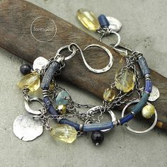 Sterling silver, ancient glass, saphhire, amber, aquamarine,  and citrine - bracelet