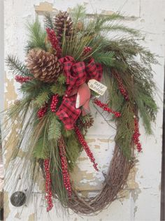 Large Christmas Wreath- Rustic Winter Wreath, Primitive Christmas Wreath, Cardinal Wreath by FlowerPowerOhio on Etsy christmashome Large Christmas Wreath, Prim Christmas, Holiday Wreaths, Holiday Crafts, Christmas Holidays, Christmas Decorations, Winter Wreaths, Country Christmas, Cowboy Christmas