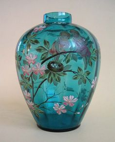 19thc Large Enamelled Blue Glass Vase
