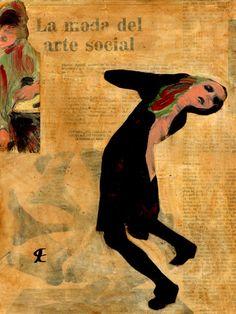 24-MUROS de ARTE (Cris Acqua) Pintura MIxta Collage. 30x21 cm . MUROS de ARTE. Mixed Media.  He jugado con seda en los muros, con pinturas, con periódicos, con cepillos y pinceles impregnados de cola, con mis recuerdos, con mis fantasias, con mi rabia, con mi alegria, pero siempre , siempre..como amante encaprichada, obsesivamente del ARTE... (Cris Acqua) www.crisacqua.com