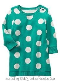 Baby GAP White Polkadot Sweater Dress in Teal. 2013 Red Wellies Line
