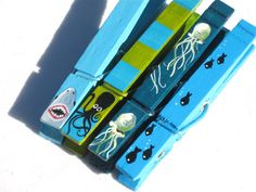 Sea creatures hand painted clothespin magnet set by SugarAndPaint, $10.00