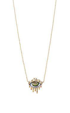 14K Gold Necklace with Green Eye - Lito Resort 2016 - Preorder now on Moda Operandi