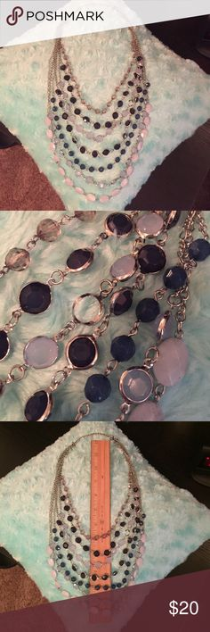 Layered blue/purple necklace Great condition! One SMALL imperfection shown in picture 2. Comes apart and separates into two necklaces! Charming Charlie Jewelry Necklaces