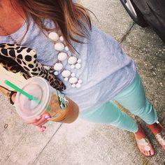 Mint skinny jeans, grey tee shirt