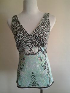 NEW ELIE TAHARI 100% SILK FLORAL AND PAISLEY PRINT SLEEVELESS TOP SMALL  #ElieTahari #KnitTop #Any