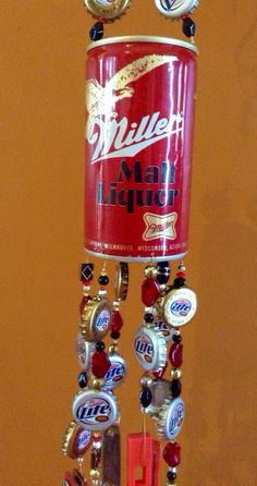 Repurposed vintage Miller beer can windchime via Etsy
