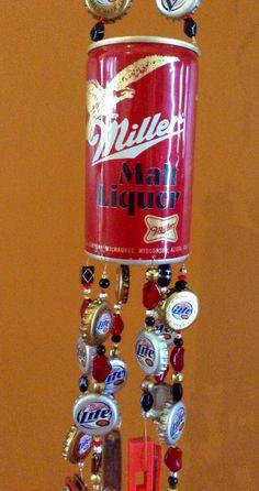 Repurposed vintage Miller beer can windchime via Etsy