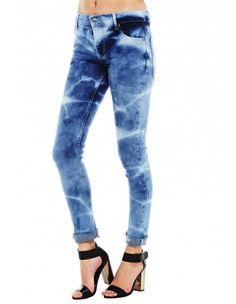Flame bleached skinny jeans