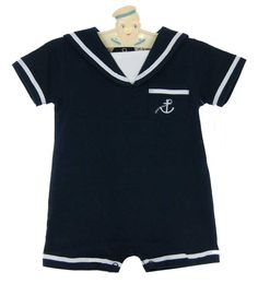 NEW Imagewear Navy Cotton Knit Sailor Romper with White Braid Trim $50.00
