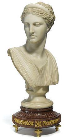 An Italian carved marble bust 19th century
